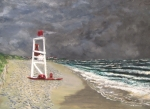 Jack Skinner Paintings - The Last Lifeguard by Jack Skinner