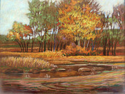 Pond And Trees Painting Acrylic Prints - The Last Of Autumn Acrylic Print by Marsh Nelson