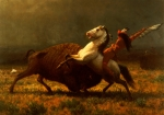 Horseback Metal Prints - The Last of the Buffalo Metal Print by Albert Bierstadt