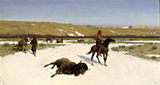 Great Painting Framed Prints - The Last of the Herd Framed Print by Henry Francois Farny