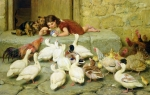 Feeding Birds Painting Framed Prints - The Last Spoonful Framed Print by Briton Riviere
