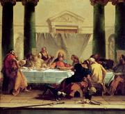 Columns Painting Metal Prints - The Last Supper Metal Print by Giovanni Battista Tiepolo