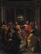 Wine Paintings - The Last Supper by Nicolas Poussin
