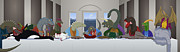 Stegosaurus Prints - The Last Supper of Raptor Jesus Print by Greasy Moose