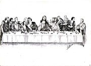 Christ Drawings - The Last Supper by Ranjith Kp