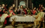 Oil Wine Framed Prints - The Last Supper Framed Print by Vicente Juan Macip