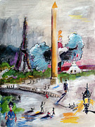 Eiffel Tower Mixed Media Metal Prints - The Last Time I Saw Paris Metal Print by Ginette Fine Art LLC Ginette Callaway