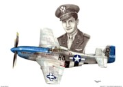 Mustang Mixed Media - The Last WWII Ace - Alden Rigby by Trenton Hill
