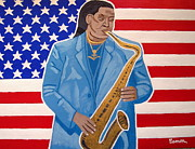 Bruce Springsteen Painting Prints - The Late Great Clarence Clemons Print by Eamon Reilly
