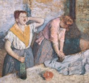 Workers Paintings - The Laundresses by Edgar Degas