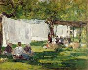 French Shops Paintings - The Laundry at Collise St. Simeon  by Eugene Louis Boudin