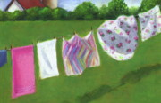 Sunshine Pastels - The Laundry on the Line by Joyce Geleynse