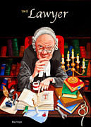 Caricature Painting Framed Prints - The Lawyer Framed Print by Johnny Trippick