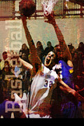 Basketball Sports Mixed Media Prints - The Layup Print by John Turek