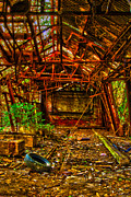 Dilapidated Digital Art Originals - The Leaning Red Room by Kimberleigh Ladd
