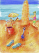 Water Play Art - The Leaning Sand Castle by Russell Pierce