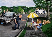 Police Paintings - The Lemonade Stand by Jack Skinner