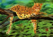 Wildcats Pastels Framed Prints - The Leopard Framed Print by Arlene  Wright-Correll
