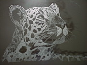 Wildlife Glass Art Originals - The Leopard by Robin Hewitt