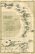Pirates Drawings Posters - The Lesser Antilles or the Windward Islands Poster by Guillaume Raynal