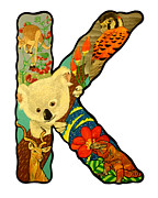 Koala Paintings - The letter K by Jason  Wright