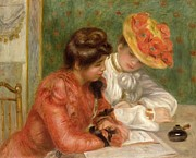 Red Flowers Art - The Letter  by Pierre Auguste Renoir