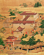 Architecture Paintings - The Life and Pastimes of the Japanese Court - Tosa School - Edo Period by Japanese School