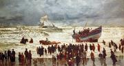 Watching Metal Prints - The Lifeboat Metal Print by William Lionel Wyllie