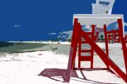Surf Art Digital Art Posters - The lifeguard stand Poster by David Lee Thompson