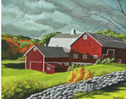 Red Barn. New England Framed Prints - The Light After The Storm Framed Print by Charlotte Blanchard