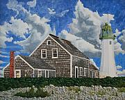 New England Lighthouse Paintings - The Light Keepers House by Dominic White