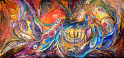 Original  Paintings - The Light of Menorah by Elena Kotliarker