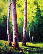 Aspen Tree Paintings - The Light Of Spring by David G Paul