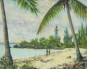 Palm Trees Paintings - The Lighthouse - Zanzibar by Tilly Willis