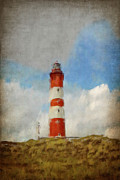 North Sea Mixed Media Prints - The Lighthouse Amrum Print by Angela Doelling AD DESIGN Photo and PhotoArt