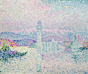 Sailboats At The Dock Painting Framed Prints - The Lighthouse at Antibes Framed Print by Paul Signac