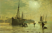 Seacoast Framed Prints - The Lighthouse at Scarborough Framed Print by John Atkinson Grimshaw