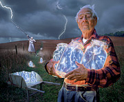 Featured Tapestries Textiles Prints - The Lightning Catchers Print by Bryan Allen