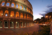 Night Time Photography Framed Prints - The Lights Come Up On The Colosseum Framed Print by Heather Perry