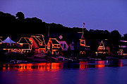 Rowing Crew Prints - The Lights of Boathouse Row Print by Bill Cannon