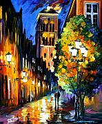 Amsterdam Painting Posters - The Lights Of The Old Town Poster by Leonid Afremov