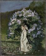 Isaachsen; Olaf (1835-93) Framed Prints - The Lilac Bush Framed Print by Olaf Isaachsen