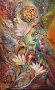 Kabbalah Art - The lilies and bell flowers by Elena Kotliarker