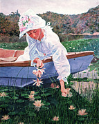 Period Framed Prints - The Lily Gatherer Framed Print by David Lloyd Glover