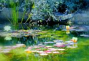 Water Flower Posters - The Lily Pond I Poster by Lynn Andrews