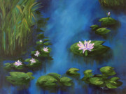 Koi Painting Posters - The Lily Pond III Poster by Torrie Smiley