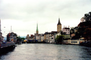 Touristy Prints - The Limmat River in Zurich Switzerland Print by Susanne Van Hulst