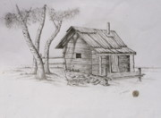 Shack Drawings Prints - The Line Shack Print by Christopher Keeler Doolin