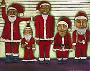 Father Christmas Paintings - The Line Up by Leah Saulnier The Painting Maniac