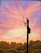 Surrealism Painting Acrylic Prints - The Lineman Acrylic Print by Arley Blankenship
